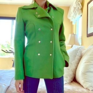 GUESS Green Wool Winter Vintage Pea Coat SMALL S